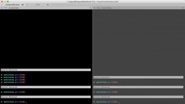 iterm2-Session Restoration效果